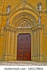 Tuscany, Arezzo cathedral Florentine style portal.