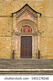 Tuscany, Arezzo cathedral side door in Duome square.