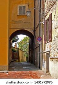 Tuscany, Arezzo, old building in the alley of the goddess. (vicolo della dea)