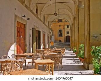 Tuscany, Arezzo, the Piazza grande Vasari loggias.