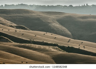 Tuscany countryside at sunrise in summer. Rolling wheat fields, sinuous layers of hills with straw rolls and natural backlight.
