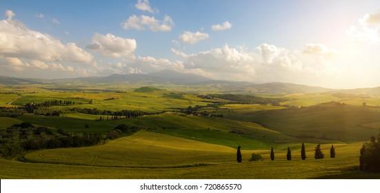 Tuscany fields landscape near Florence, on sunset, August 2017
