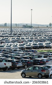 TUSCANY, ITALY - 27 June 2014: New cars parked at distribution center in Tuscany, Italy. This one of biggest distribution centers in Italy.