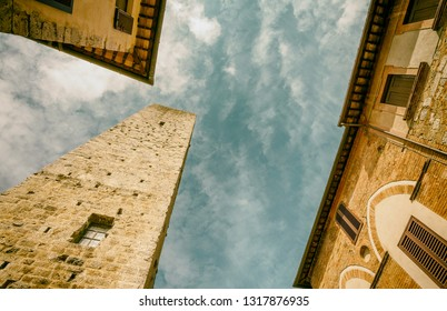 Tuscany, Italy. Ancient medieval architectural detail.