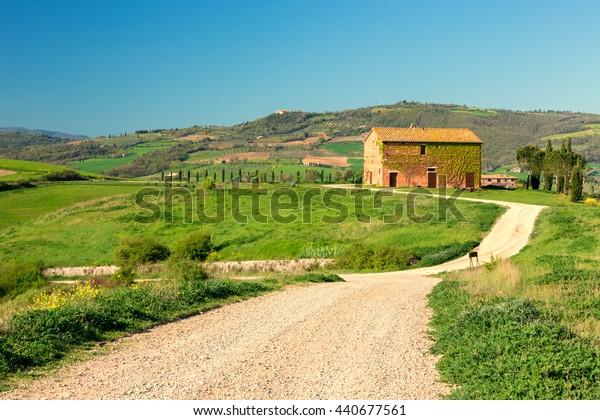 TUSCANY, ITALY - APRIL 11, 2016: Beautiful Tuscan countryside near San Quirico d Orcia, Tuscany, Italy