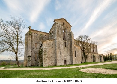 TUSCANY, ITALY - APRIL 13, 2016: Abbey of San Galgano from 13th century, near Siena, Tuscany, Italy
