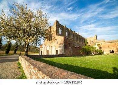 TUSCANY, ITALY - APRIL 13, 2016: Abbey of San Galgano from 13th century, near Siena, Tuscany, Italy
