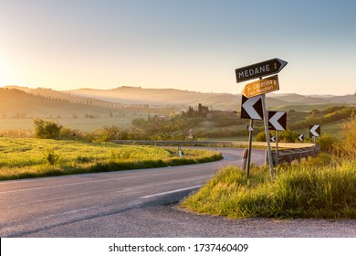 TUSCANY, ITALY - APRIl 15, 2016: Picturesque curves of landscape in countryside near Siena, Tuscany, Italy