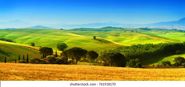 Tuscany, Italy - June 05, 2017.: Beautiful landscape, tourist visit in in Tuscany, Val D'orcia, Italy