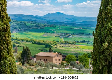 Tuscany, Italy - May 16 2018: Val d'Orcia - Unesco World Heritage