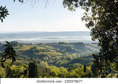 Tuscany, Italy - October 3, 2018: Beautiful Tuscany landscape by the village San Gimignano in Chianti in Italy
