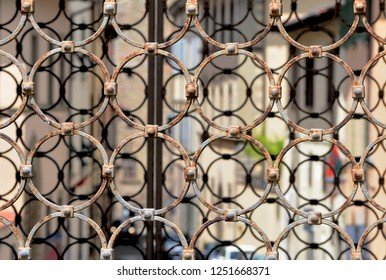 Tuscany, Italy, old wrought iron gate in the historical center of Arezzo city