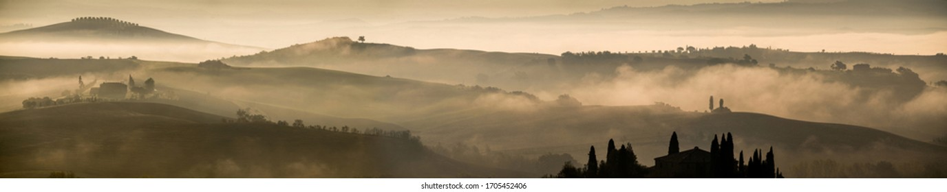 Tuscany landscape in fog, Italy, Europe.