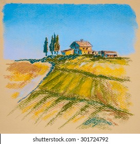 Tuscany landscape, Italy. Original pastel painting on paper