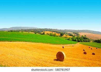 Tuscany Landscape with Many Hay Bales