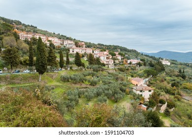 Tuscany landscape. View from Cortona of the houses and road on the hill.