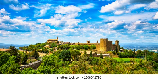 Tuscany, Montalcino italian medieval village, fortress and church view. Brunello wine town.Siena, Italy.
