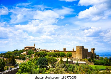 Tuscany, Montalcino italian medieval village, fortress and church view. Brunello wine town.Siena, Val d Orcia, Italy.