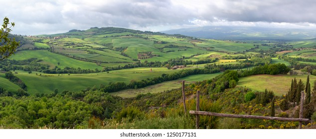 Tuscany panorama landscape with farmland hill fields in Italy, Europe