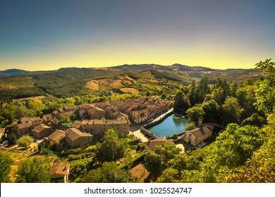 Tuscany, Santa Fiora medieval village and tower. Monte Amiata, Grosseto, Italy, Europe