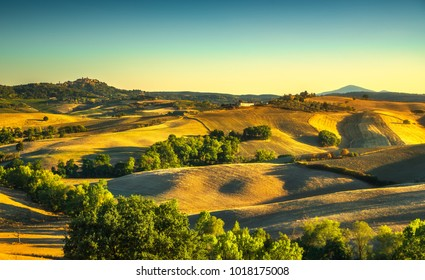 Tuscany summer countryside, Montepulciano italian medieval village and rolling hills. Siena, Italy Europe.