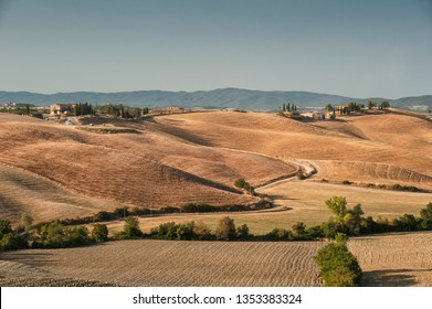 Tuscany, Val d'Arbia, Siena. August 9, 2018. In the Val d'Arbia and the Val d'Orcia you can find among the most evocative Tuscan landscapes.