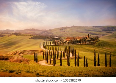Tuscany, Val d'Arbia, Siena. March 16, 2019. In the Val d'Arbia and the Val d'Orcia you can find among the most evocative Tuscan landscapes.