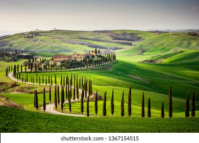 Tuscany, Val d'Arbia, Siena. March 16, 2019. In the Val d'Arbia and the Val d'Orcia you can find among the most evocative Tuscan landscapes. Italy