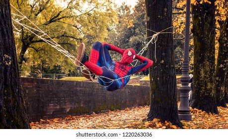 Tuscany/Italy - 11-03-2018: Funny cosplay of Spiderman at Lucca Comics & Games festival (the largest comic book and gaming convention in Europe)