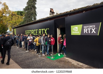 Tuscany/Italy - 11-03-2018: Nvidia stand at Lucca Comics & Games festival (the largest comic book and gaming convention in Europe)