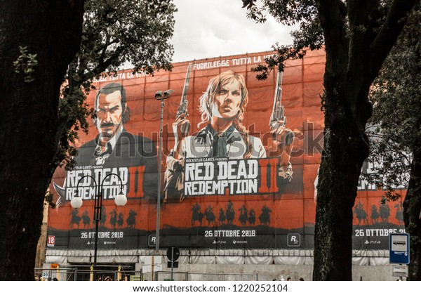 "Tuscany/Italy - 11-03-2018: ""Red Dead Redemption 2"" huge promotional poster at Lucca Comics & Games festival (the largest comic book and gaming convention in Europe)"