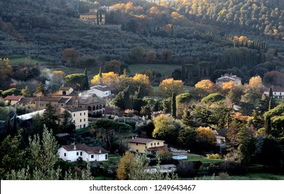 Tuscany,Italy, landscape of a countryside village in the hills near Arezzo, on autumn day,at sunset