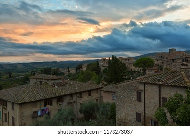 Tuscany,view from the walls of Montepulciano in sunset, Italy