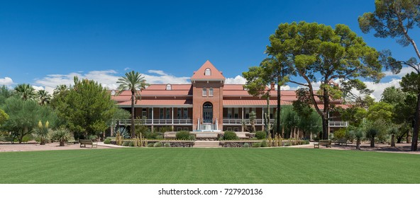 TUSCON, ARIZONA - AUGUST 9: Exterior of the Old Main building on the campus of the University of Arizona on University Blvd on August 9, 2017 in Tucson, Arizona