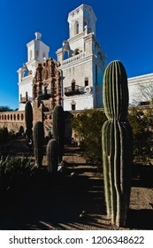 Tuscon, Arizona/USA - February 2, 2016: Mission San Xavier del Bac: cactus and church steeple