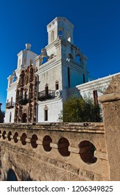 Tuscon, Arizona/USA - February 2, 2016: Mission San Xavier del Bac: entry gate and church steeple tower