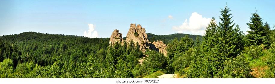 Tustan - old rock fortress city,panorama photo, Ukraine