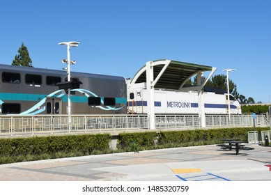 TUSTIN, CA - APRIL 30, 2017: Metrolink Station. The commuter rail station is in a shopping plaza at Jamboree Road and Edinger Avenue.