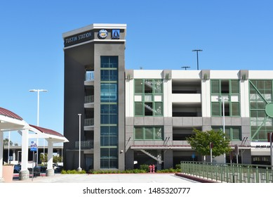TUSTIN, CA - APRIL 30, 2017: Parking Structure at the Metrolink Station. The commuter rail station is in a shopping plaza at Jamboree Road and Edinger Avenue.