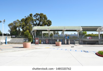 TUSTIN, CA - MARCH 24, 2017: Metrolink Station. The commuter rail station is in a shopping plaza at Jamboree Road and Edinger Avenue.