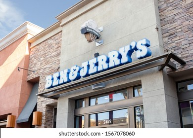 Tustin, California/United States - 11/03/2019: A store front sign for the ice cream chain known as Ben and Jerry's