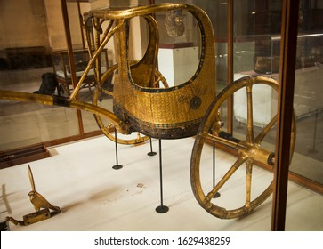 Tutankhamen's Golden Chariot that was found in his tomb and is now in the Egypt Museum, Cairo.