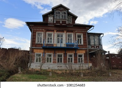 TUTAYEV, YAROSLAVL OBLAST / RUSSIA - APRIL 29 2018: Old wooden architecture in the Tutayev town. The house of the notary Masloka