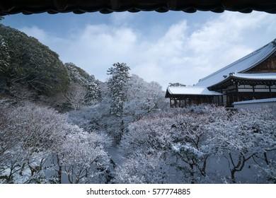 Tutenkyo bridge at Tofukuji temple snow scene,Kyoto,tourism of Japan