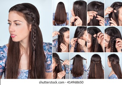 tutorial photo backstage of simple braided hairstyle for long loose hair