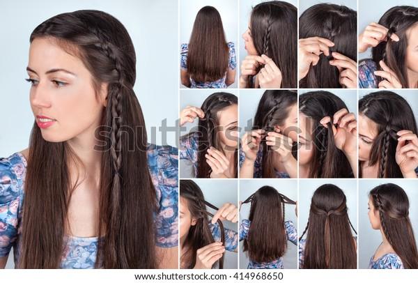 Pleasant Tutorial Photo Backstage Simple Braided Hairstyle Stock Photo Schematic Wiring Diagrams Phreekkolirunnerswayorg