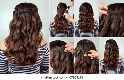 tutorial photo braided hairstyle for long curly hair