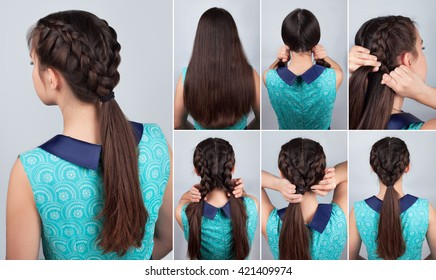 tutorial photo of easy hairstyle for long hair. Two braids with pony tail