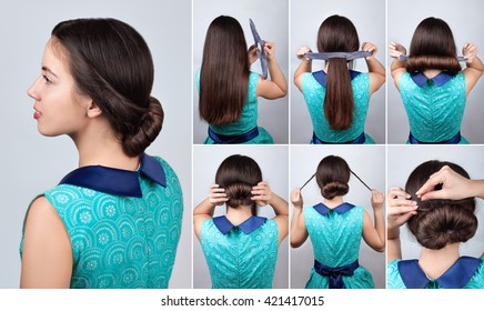 tutorial photo of hairstyle twisted bun
