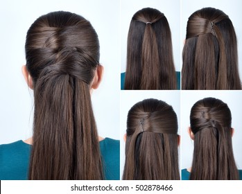 tutorial photo of simple hairstyle pinned half updo for long hair